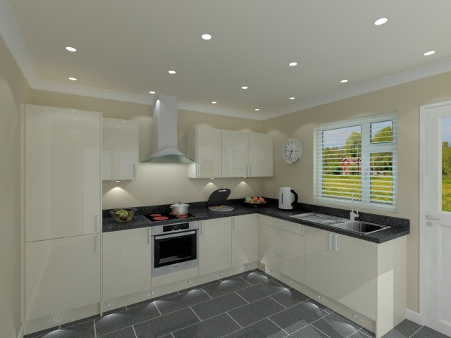 Quality Budget L Shaped Kitchen Package With Cream Doors