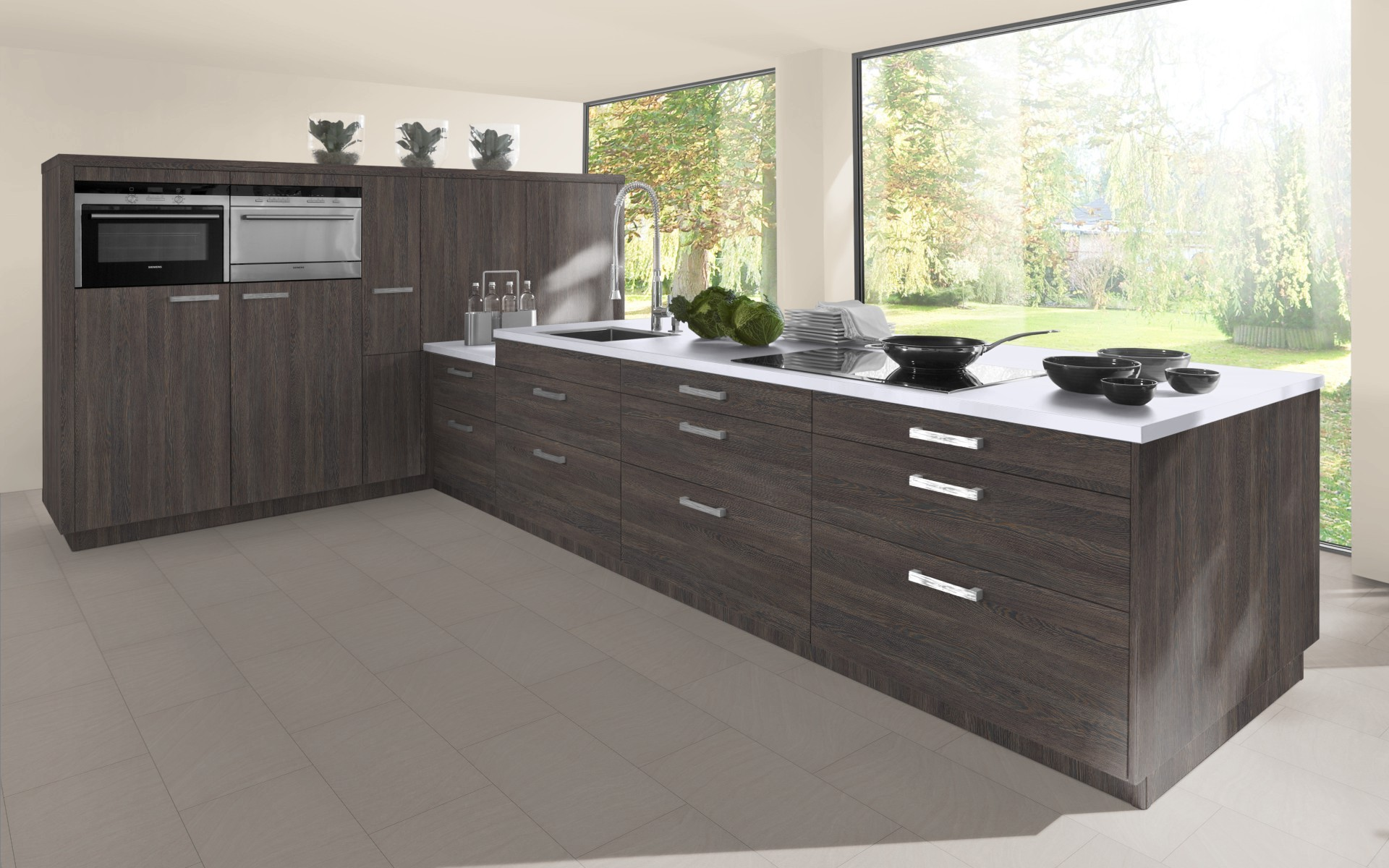 Kitchen Cabinet Sink Base Textured Wood Fully Integrated Appliance Door Trade
